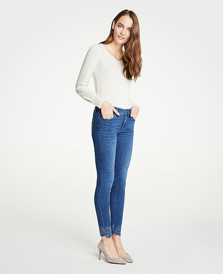 Tall Curvy Embroidered Floral All Day Skinny Jeans | Tuggl