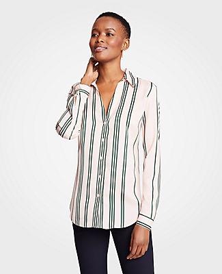 Ann Taylor Petite Stripe Essential Button Down Blouse 25903027