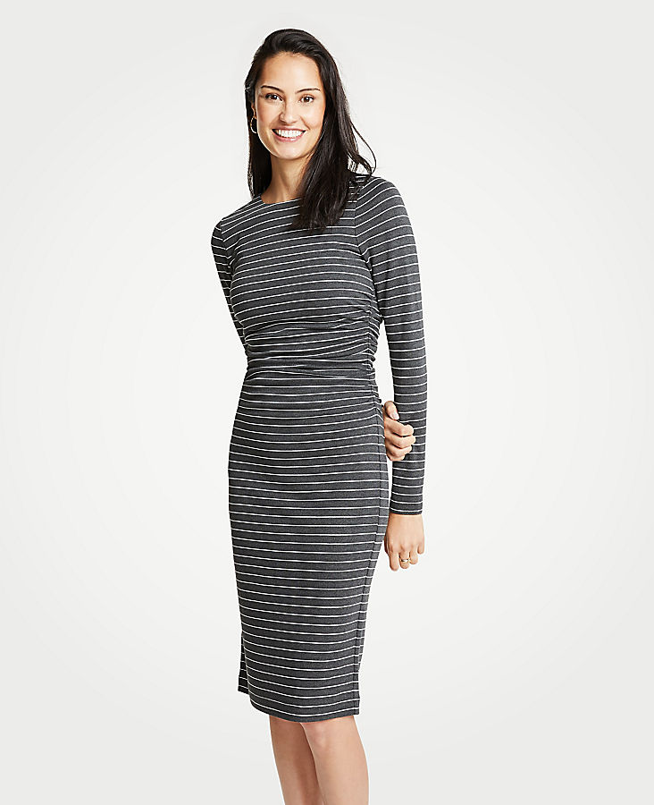 Tall Stripe Ruched Knit Sheath Dress | Tuggl