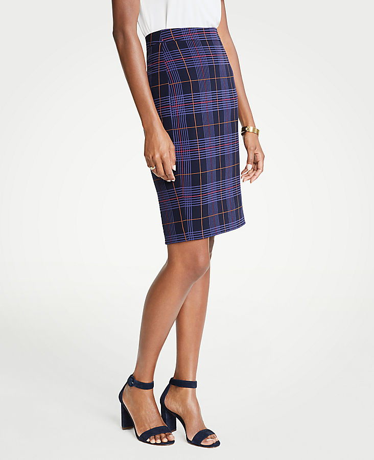 Petite Mini Plaid Pencil Skirt