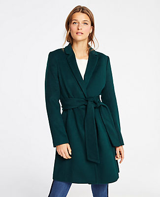 Petite Belted Chesterfield Coat in Emerald Forest from ANN TAYLOR