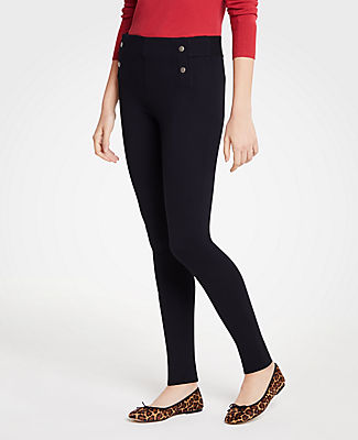 Meet your real-life uniform: this is Luxewear. Every day. Every wear. Made with an elasticized back waistband, our ponte leggings are topped with metallic button trim for a nautical nod. Elasticized waist with exposed back.