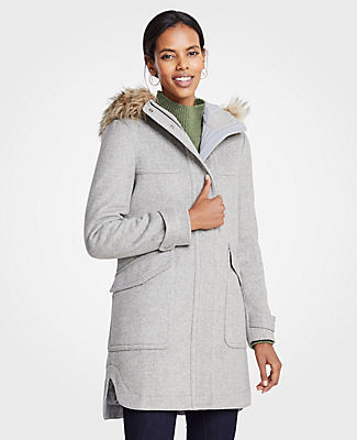 ANN TAYLOR Petite Faux Fur Parka in Grey Multi
