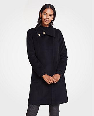 ANN TAYLOR Petite Snappy Funnel Neck Coat in Black