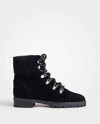 ANN TAYLOR Brock Suede Hiker Boots in Black