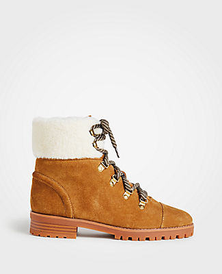 ANN TAYLOR Brock Suede Hiker Boots in Spanish Chocolate