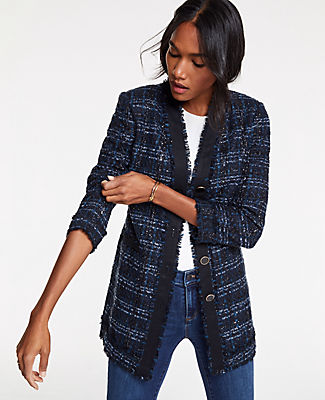 Petite Houndstooth Tweed Jacket in Navy Multi from ANN TAYLOR