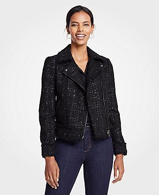 ANN TAYLOR Petite Peplum Moto Jacket in Black