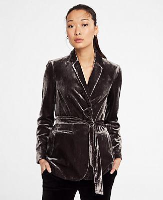 ANN TAYLOR Petite Velvet Belted Blazer in Dark Meteorite