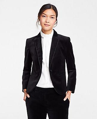 ANN TAYLOR Petite Velvet Blazer in Black