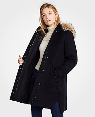 Petite Faux Fur Parka in Black from ANN TAYLOR