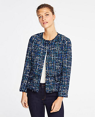 Petite Tweed Military Jacket in Blue Multi from ANN TAYLOR