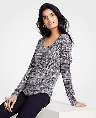 ANN TAYLOR PETITE MARLED SCOOP NECK LONG SLEEVE TEE