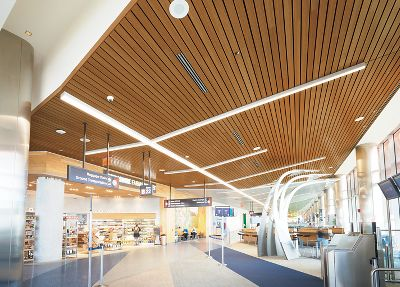 Wood ceiling lighting Timber Woodworks Linear Veneered Planks room Scene Armstrong Building Solutions Wood Ceilings Planks Panels Armstrong Ceiling Solutions Commercial