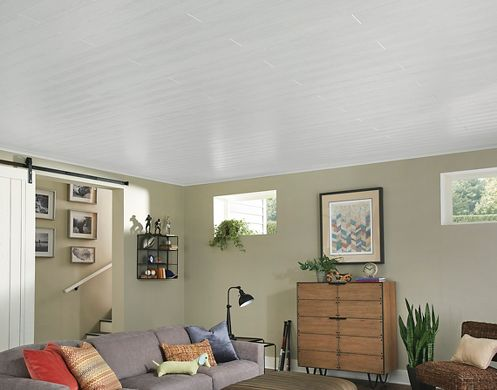 Basement with White Wood Look Ceiling