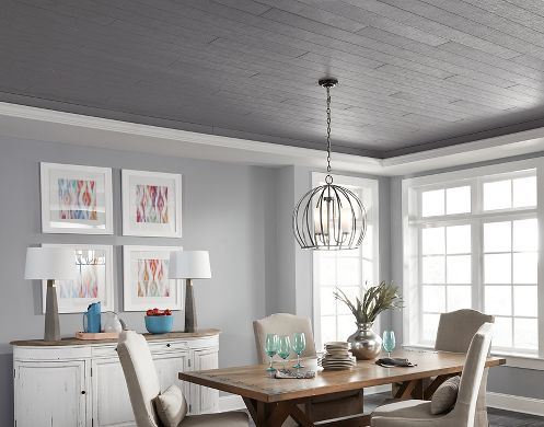 Charcoal Plank Tray Ceiling
