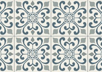 Amador Medallion Vinyl Sheet - Deep Blue