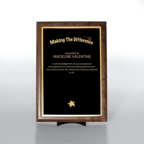 Prestigious Award Plaque - Half-Size - Black w/ Gold