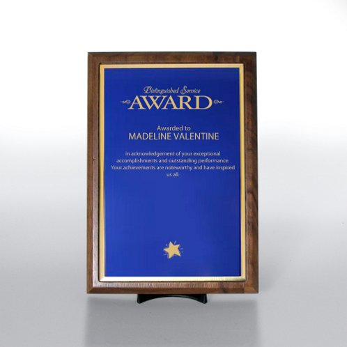 Prestigious Award Plaque - Half-Size - Blue w/ Gold