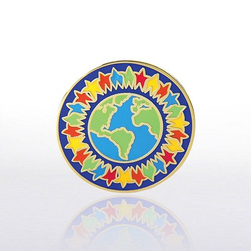 Lapel Pin - Together We Can World - Multi Color