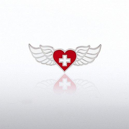 Lapel Pin - Wings Heart and Cross