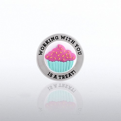 PVC Lapel Pin - Cupcake Working With You
