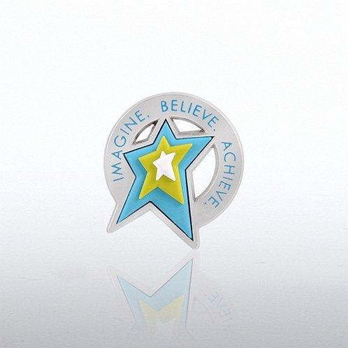 PVC Lapel Pin - Imagine Believe Achieve - Star