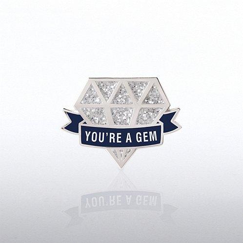 Lapel Pin - Glitter - You're a Gem Diamond
