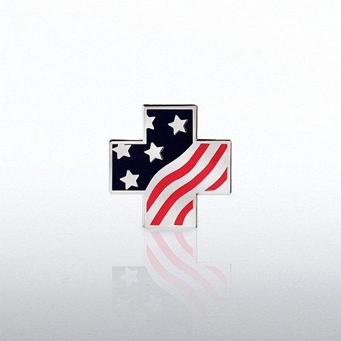 Lapel Pin - Flag Cross