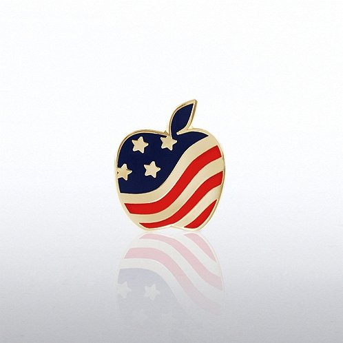Lapel Pin - Flag Apple