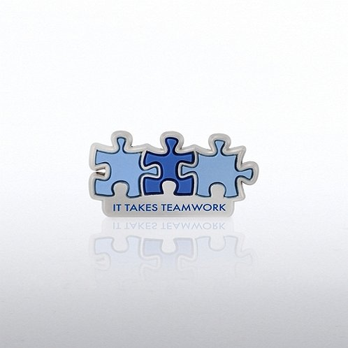PVC Lapel Pin - It Takes Teamwork
