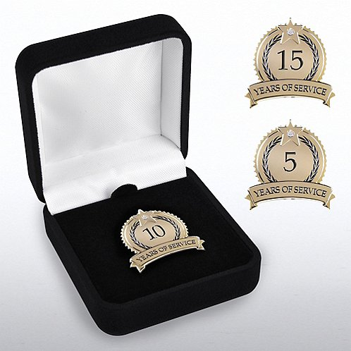 Anniversary Lapel Pin - Star Laurels with Gem