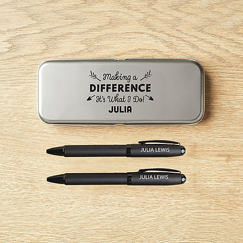 Custom Collection: Modern Matte Black Pen Set in Case