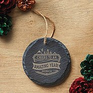 Custom Collection: Engraved Slate Ornament -Round