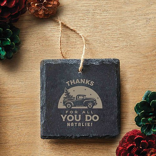 Custom Collection: Engraved Slate Ornament - Square