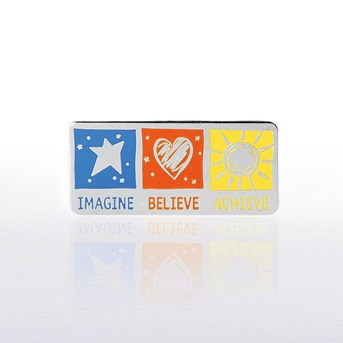 Lapel Pin - Imagine Believe Achieve Silver