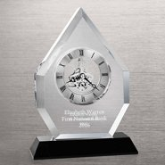 Executive Crystal Skeleton Clock - Beveled Flame
