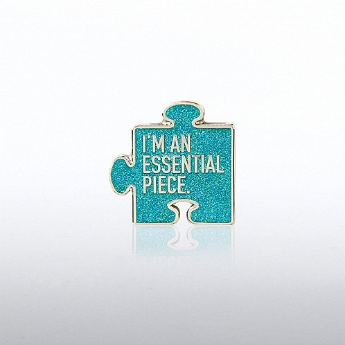 Lapel Pin - I'm an Essential Piece Glitter Puzzle Piece