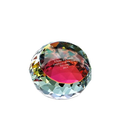 Vibrant Luminary Crystal Collection - Round Paperweight