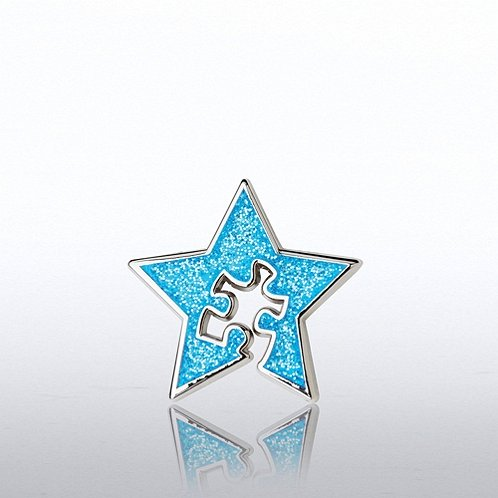 Glitter Lapel Pin - Blue Star with Essential Piece