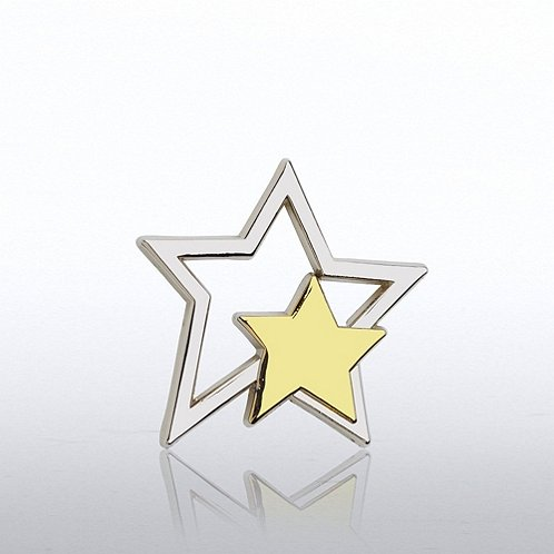 Lapel Pin - Silver Star with Gold Star