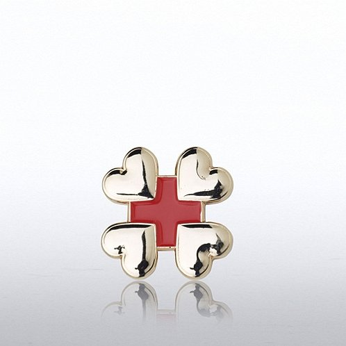 Lapel Pin - Cross Hearts