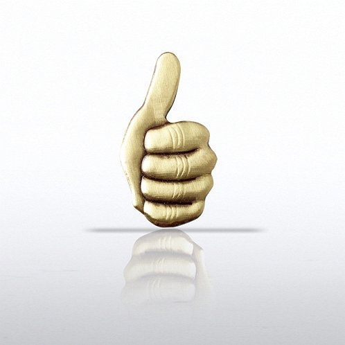 Lapel Pin - Thumbs Up - Brass