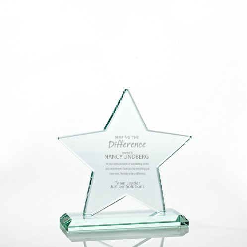 Premium Jade Glass Trophy - Star