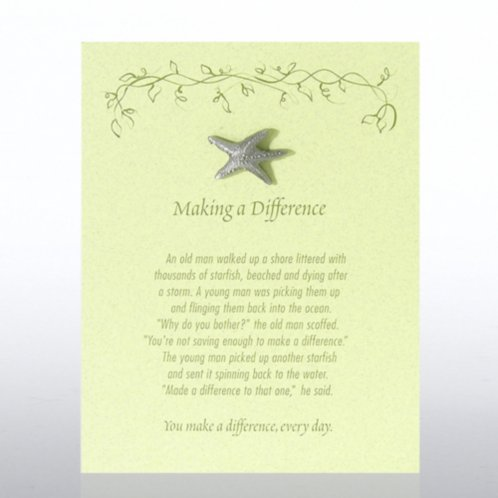 Character Pin Starfish Making A Difference Green Card