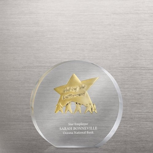 Embedded Medallion Trophy - Making the Difference Star