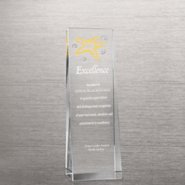 Etched Crystalline Tower Trophy -  Starfish