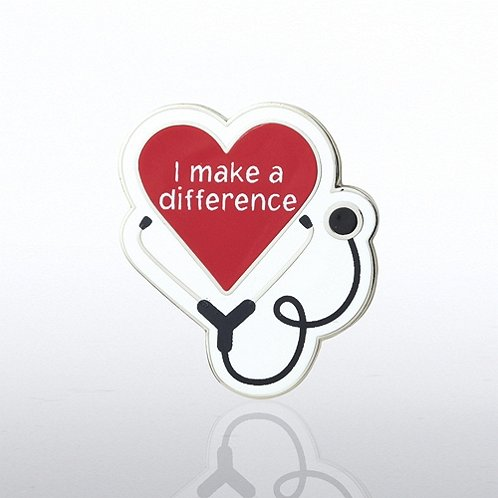 Lapel Pin - Heart with Stethoscope