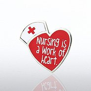 Lapel Pin - Nursing is a Work of Heart