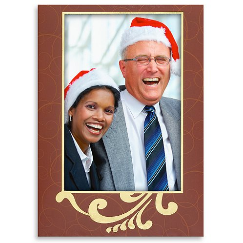 Holiday Greeting Card - Photo Frame Burgundy With Gold Foil